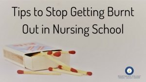 matchbox with matches words saying tips to stop nursing burnout